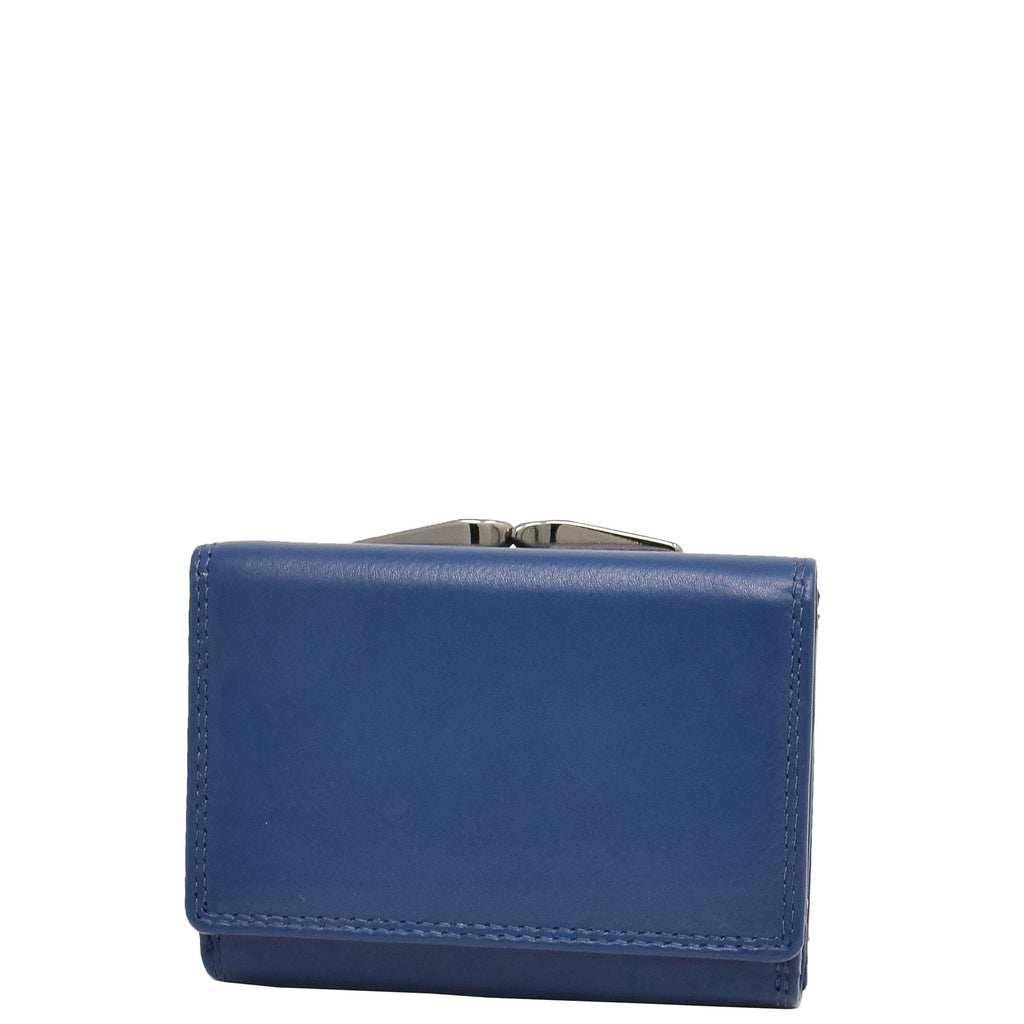 Womens Metal Frame Leather Purse Kandy Navy Blue