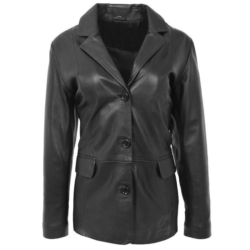 Womens Classic Three Button Leather Blazer Janet Black