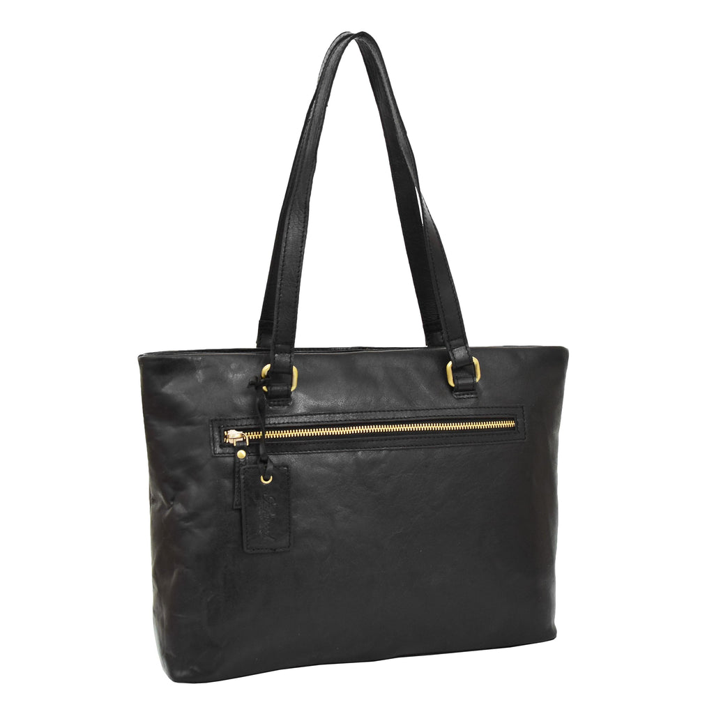 Womens Leather Classic Shopper Bag Sadie Black