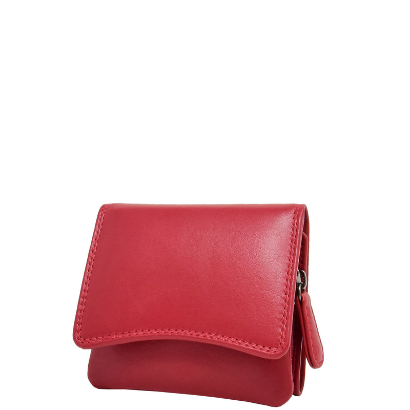 Womens Small Trifold Leather Purse Carmel Red