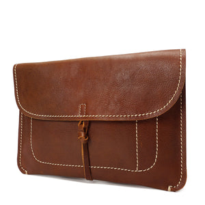 Copy of Leather Clutch Bag Small Wrist Pouch A5 Size Case H8063 Tan