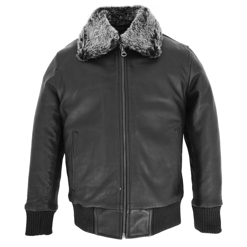 Boys Leather Bomber Jacket with Detachable Collar Liam Black