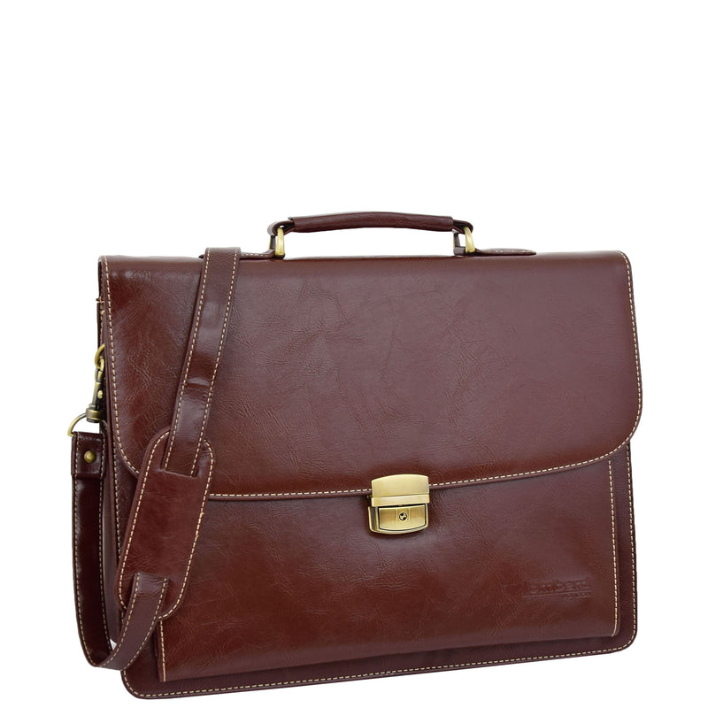 Mens Faux Leather Flap Over Briefcase Windsor Brown 3