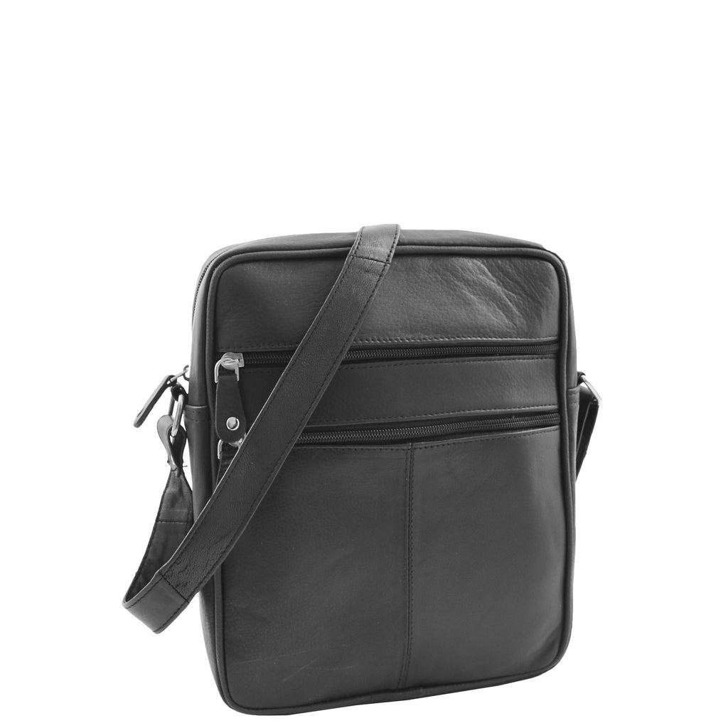 Mens Real Leather Cross Body Pouch Organiser Flight Bag Ashland Black