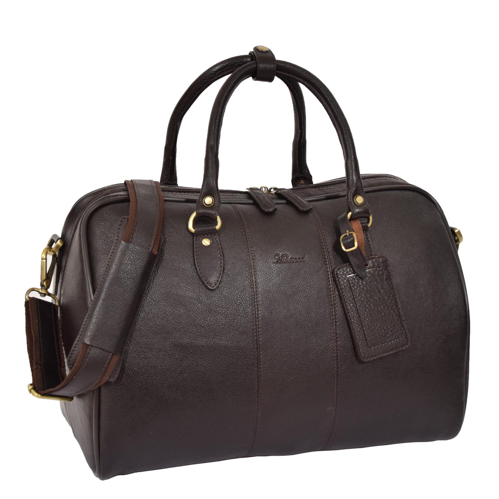 Zip Around Leather Travel Holdall Monaco Brown