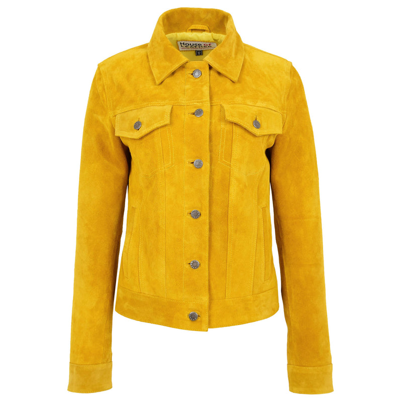 Womens Soft Suede Trucker Style Jacket Alma Yellow