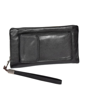leather wrist bag