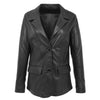 Womens Leather Semi Fit Two Button Blazer Shirley Black