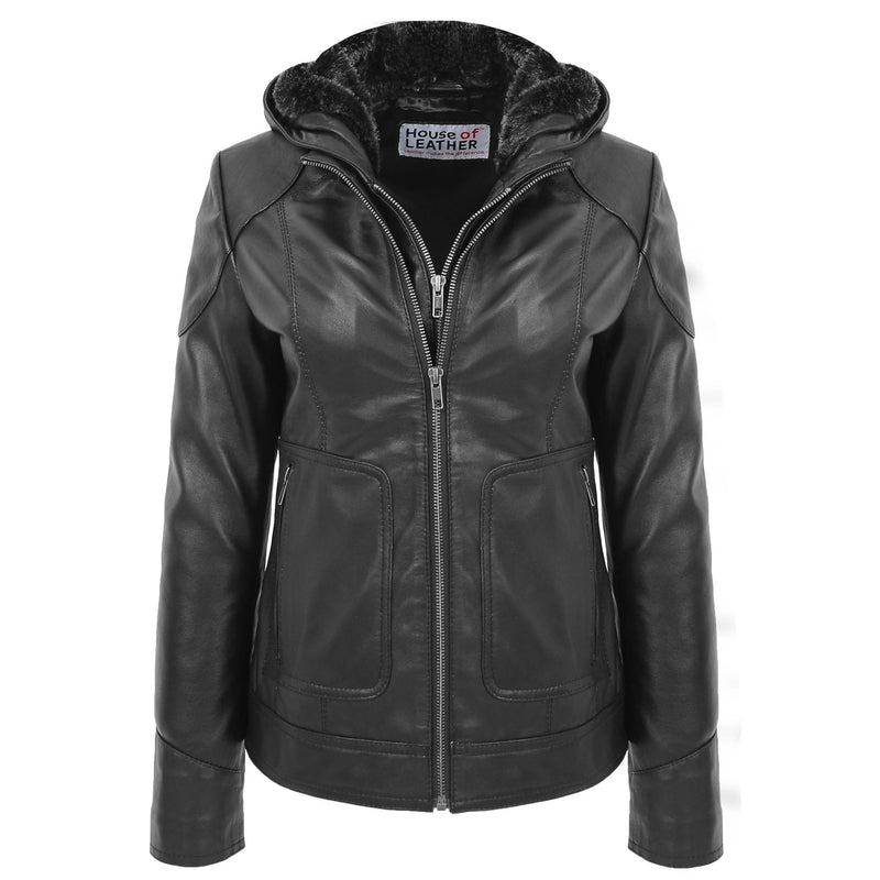 Womens Leather Detachable Hooded Coat Brooke Black