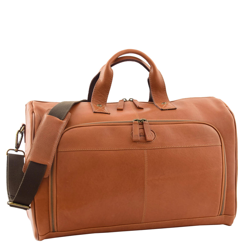 Genuine Leather Travel Holdall Overnight Bag HL015 Tan