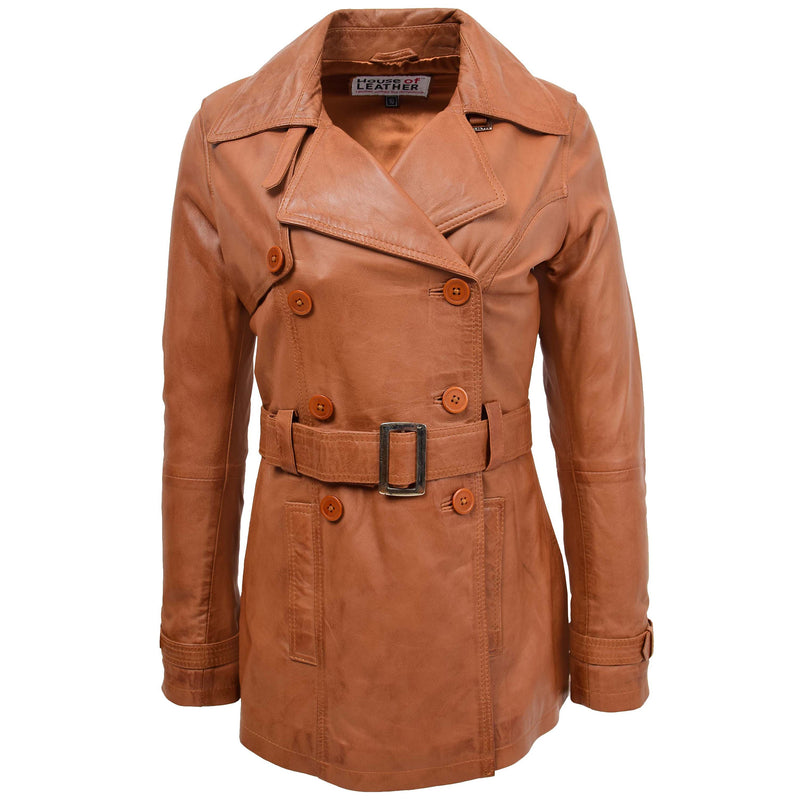 Womens Leather Double Breasted Trench Coat Sienna Tan