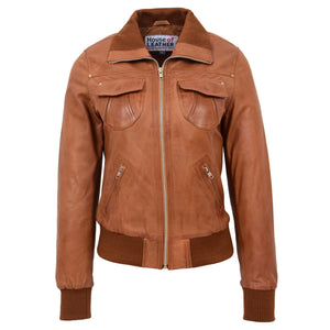 Womens Leather Classic Bomber Jacket Motto Tan