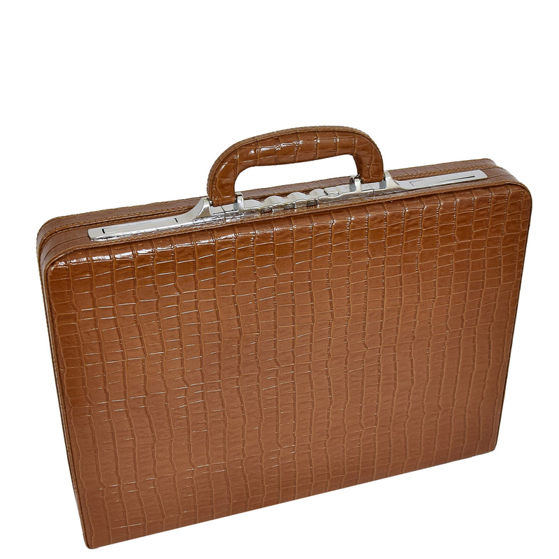 Traditional Croc Print Attaché Case HOL87 Brown