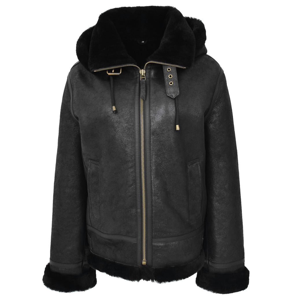 Womens Sheepskin B3 Detachable Hoodie Jacket Naomi Black