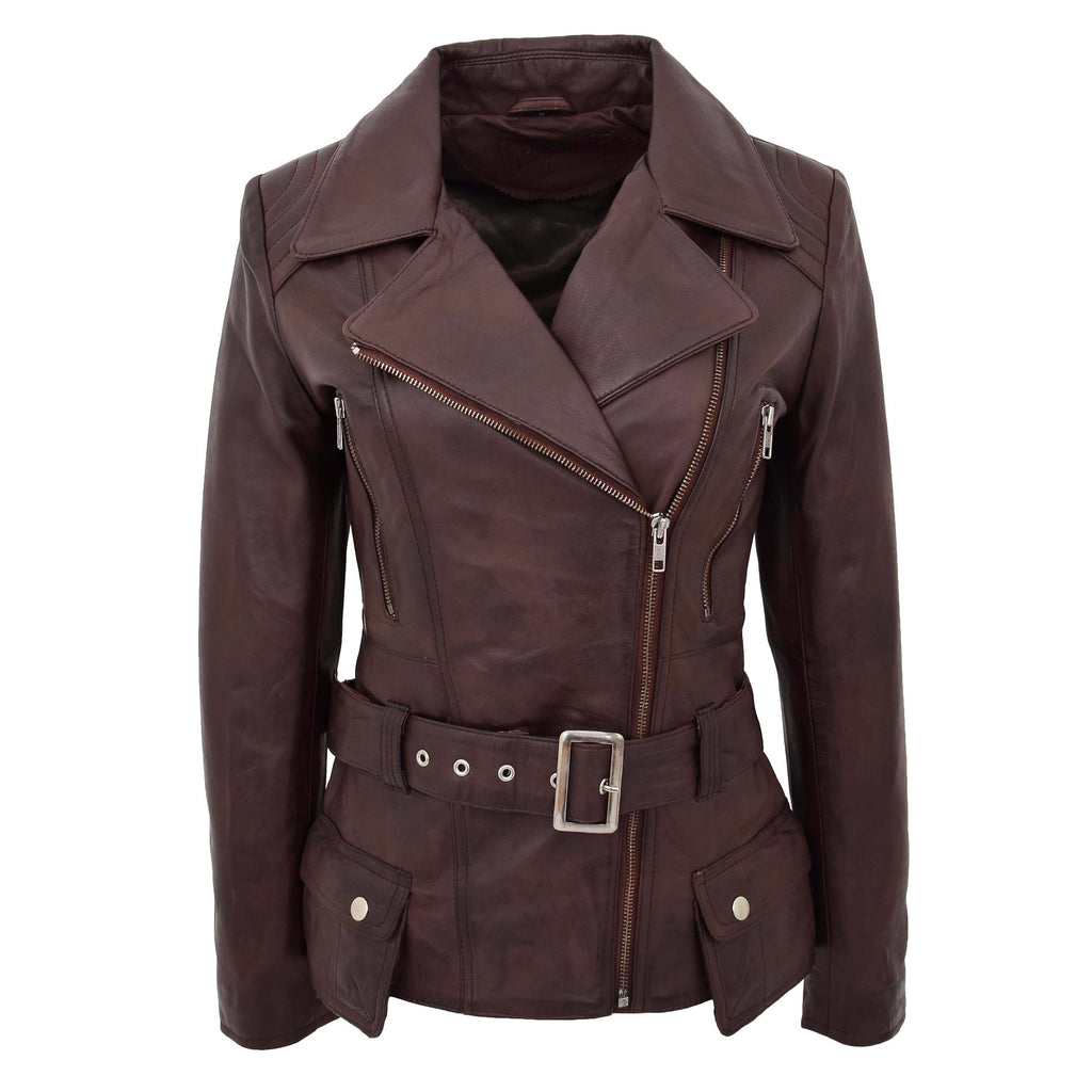 Womens Leather Hip Length Biker Jacket Celia Brown