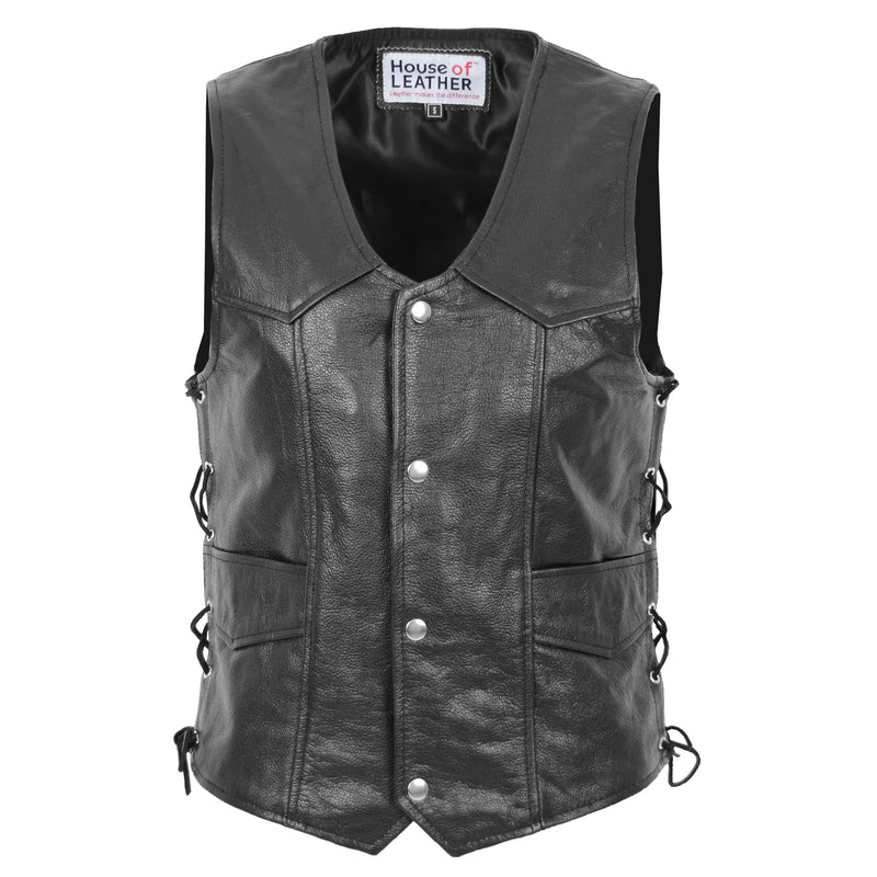 Mens Real Leather Gilet with Side Tassel Feature Jax Black 1