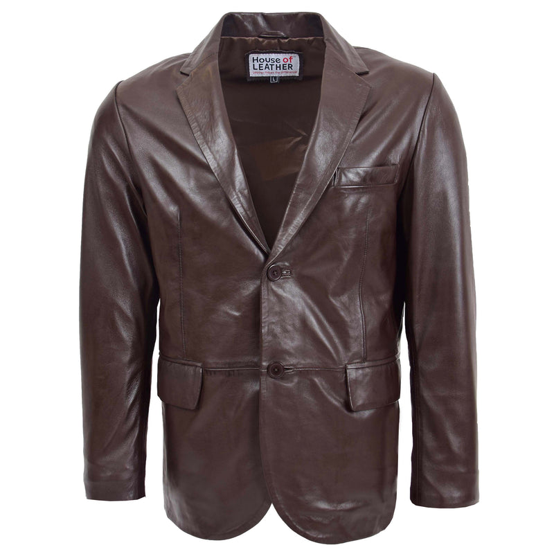 Mens Leather Blazer Two Button Jacket Zavi Brown