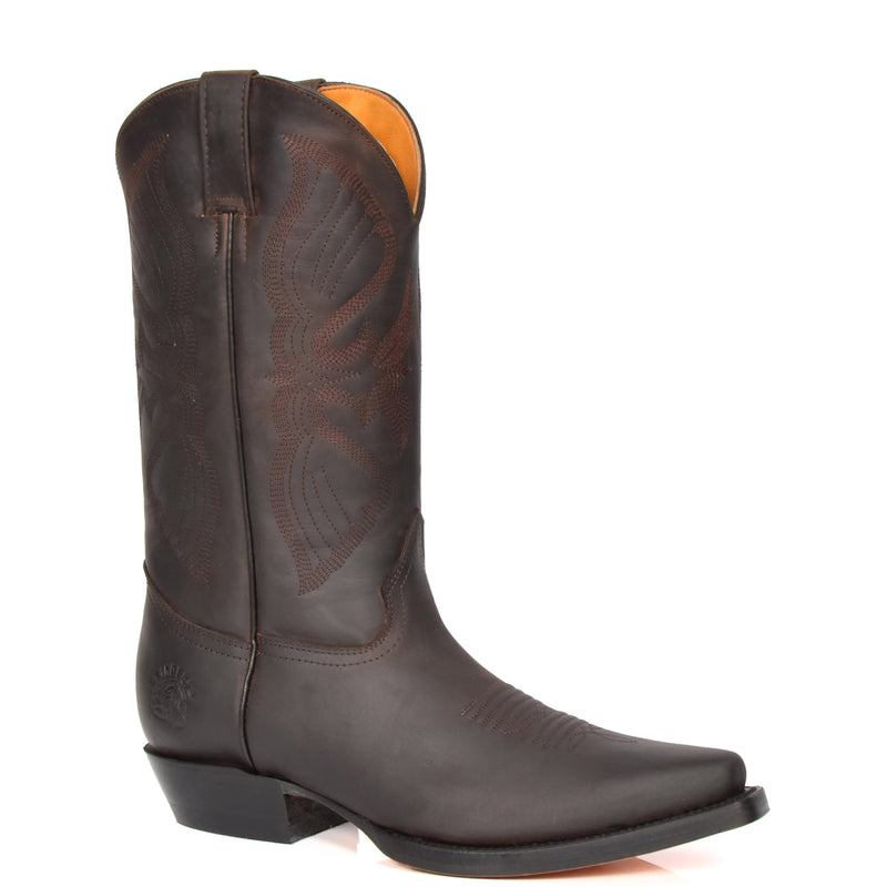 leather cowboy boots brown