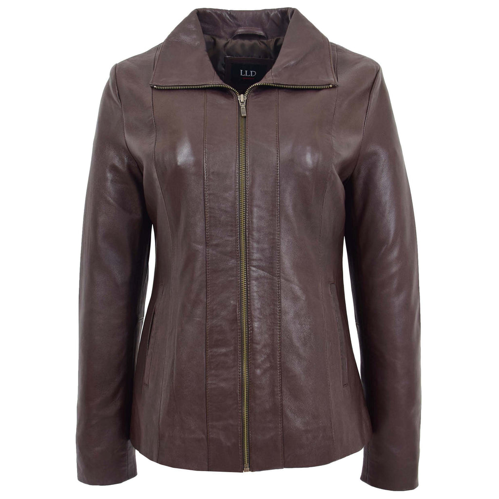 Womens Classic Zip Fastening Leather Jacket Julia Brown