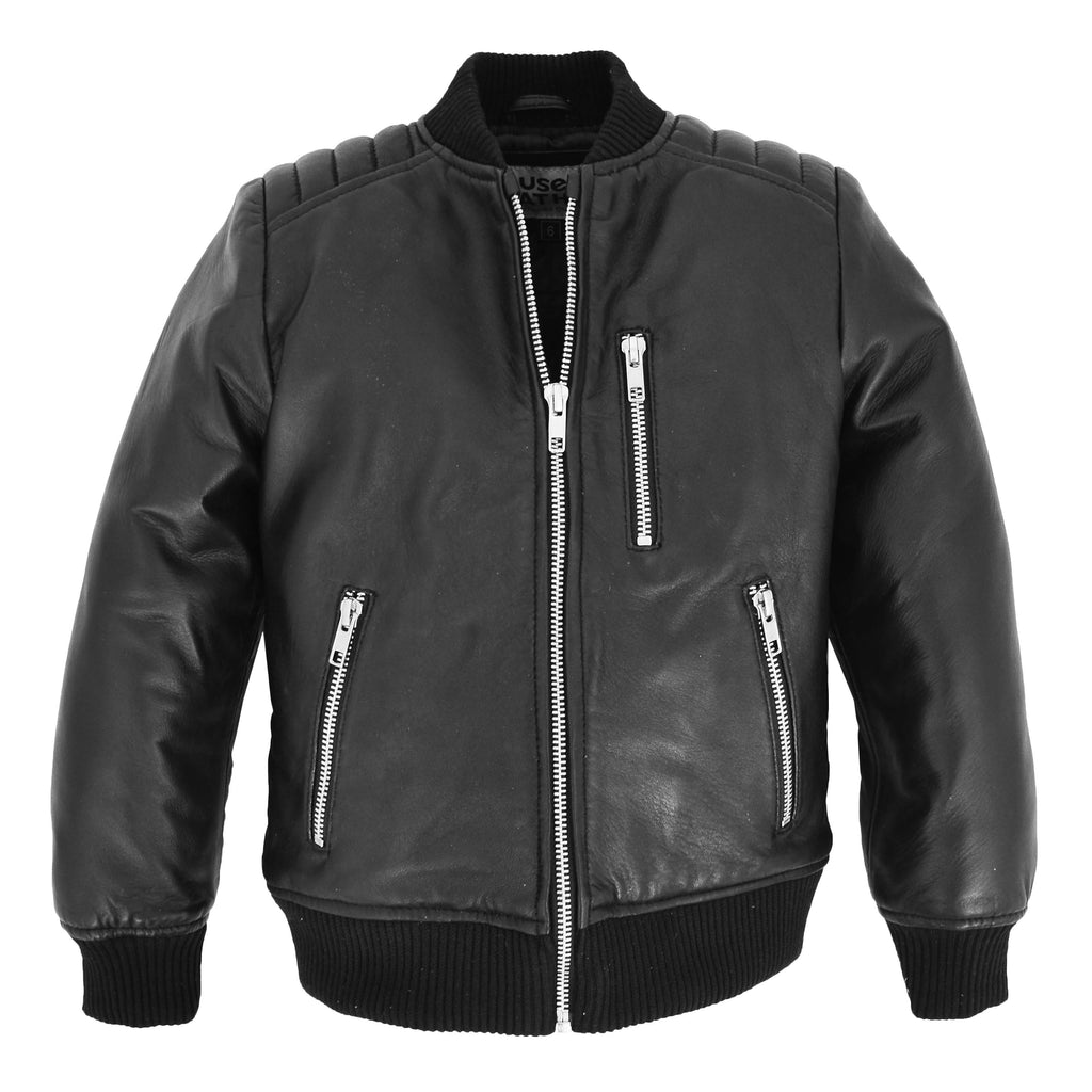 Boys Real Leather Bomber Varsity Style Jacket Lucas Black