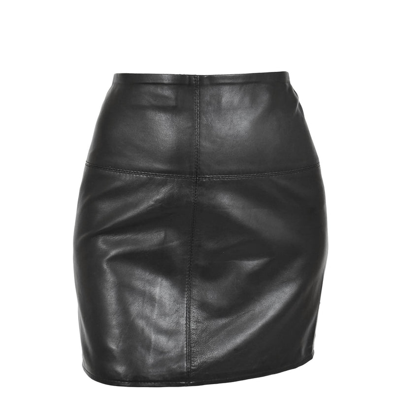 Ladies Leather 16inch Mini Length Pencil Skirt SKT5 Black