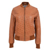 Womens Leather Varsity Quilted Bomber Jacket Sally Tan