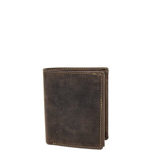 Mens Bifold Vintage Leather Wallet Vienna Brown 1