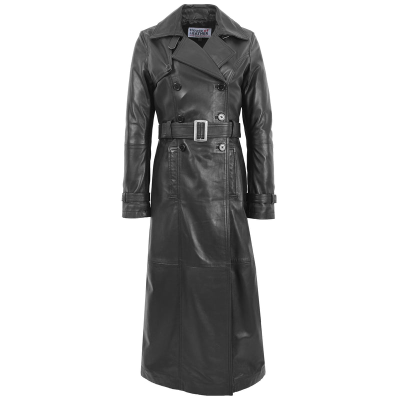 Womens Leather Full Length Trench Coat Sharon Black