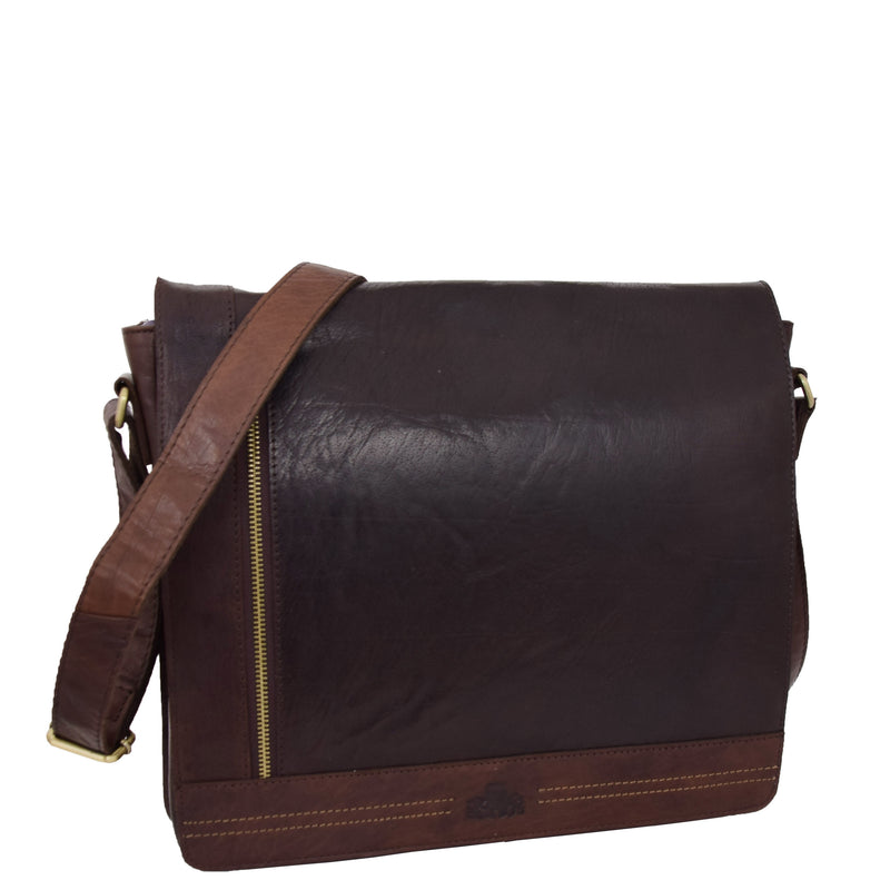 Mens Leather Flap Over Cross Body Bag Bristol Brown 4
