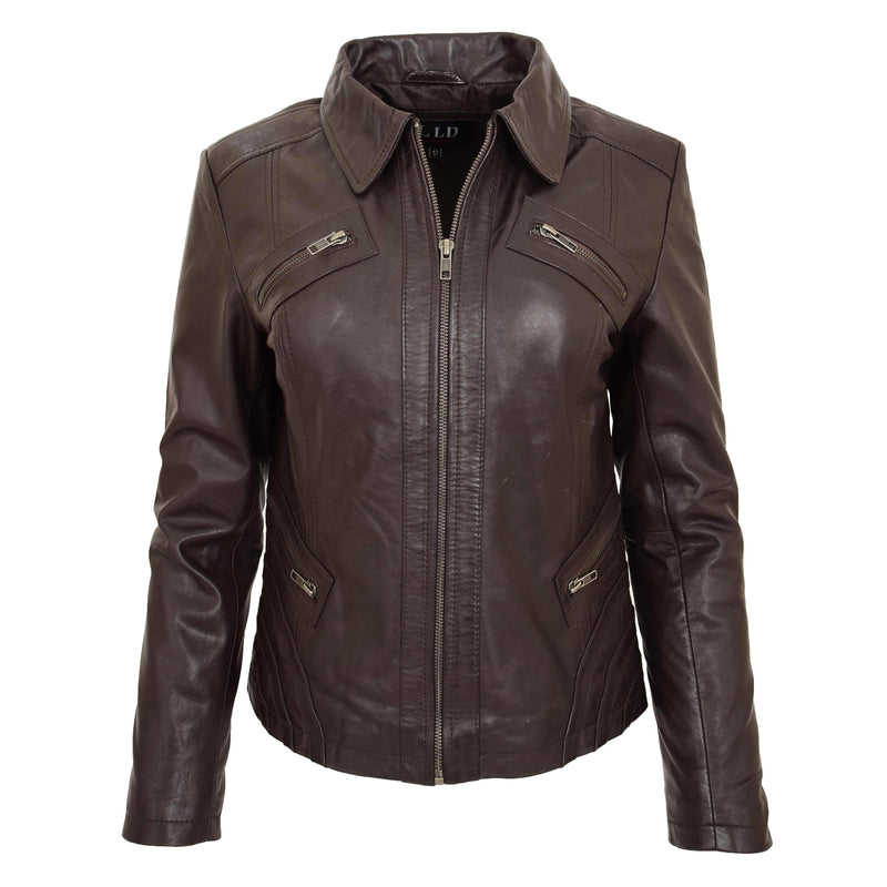 Womens Classic Leather Biker Zip Box Jacket Nova Brown