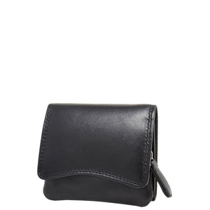 Womens Small Trifold Leather Purse Carmel Black