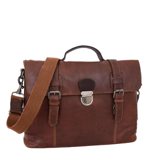 Mens Leather Bag Vintage Style Briefcase Shores Brown
