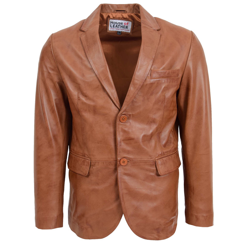 Mens Leather Blazer Two Button Jacket Zavi Tan