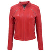 Womens Leather Classic Biker Style Jacket Alice Red