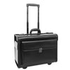 Leather Pilot Case Wheeled Lockable Laptop Bag Cornwall Black