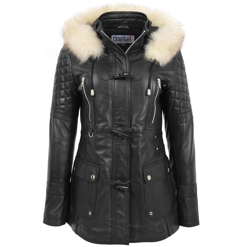 Womens Original Duffle Style Leather Coat Ariel Black