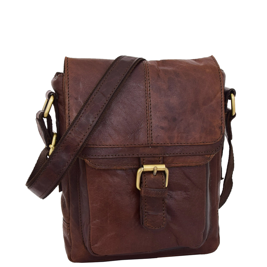 Mens Leather Cross Body Flight Bag Oldenburg Brown