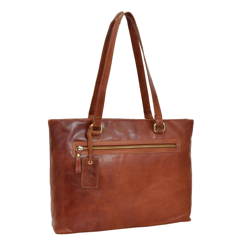 Womens Leather Classic Shopper Bag Sadie Tan 4