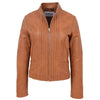 Womens Leather Casual Standing Collar Jacket Ivy Tan