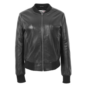 Womens Real Leather Varsity Bomber Jacket Faye Black