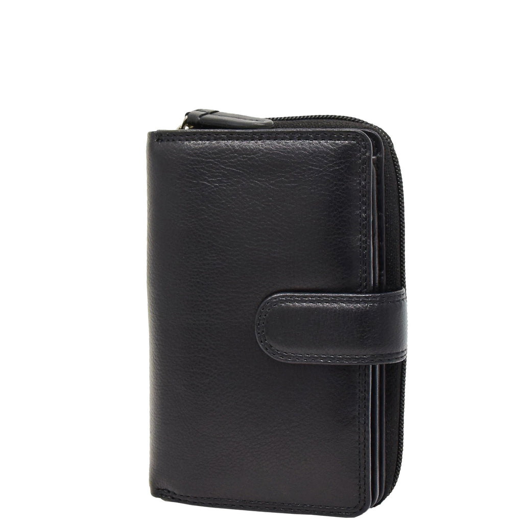 Womens Leather Booklet Style Purse Dublin Black