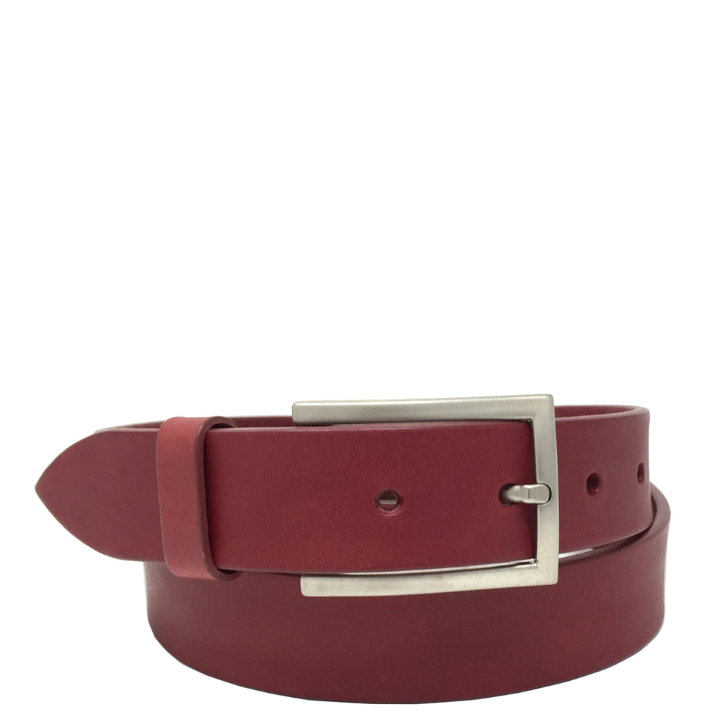 mens red leather belt