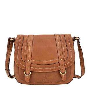 Womens Classic Soft Leather Cross Body Bag Mary Tan front