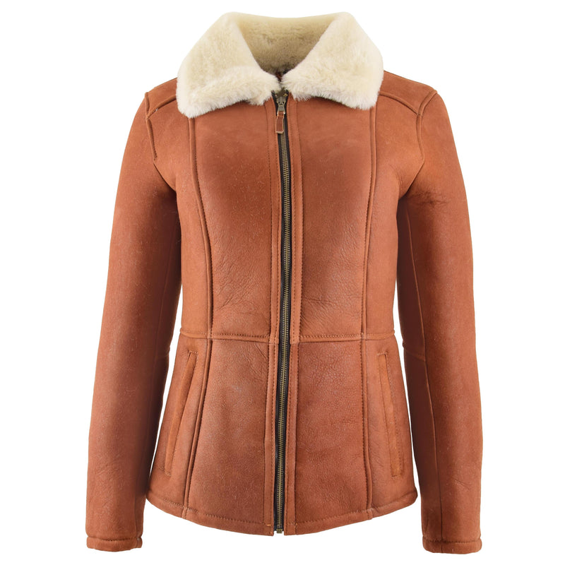 Womens Sheepskin Mid Length Coat Scarlett Whiskey
