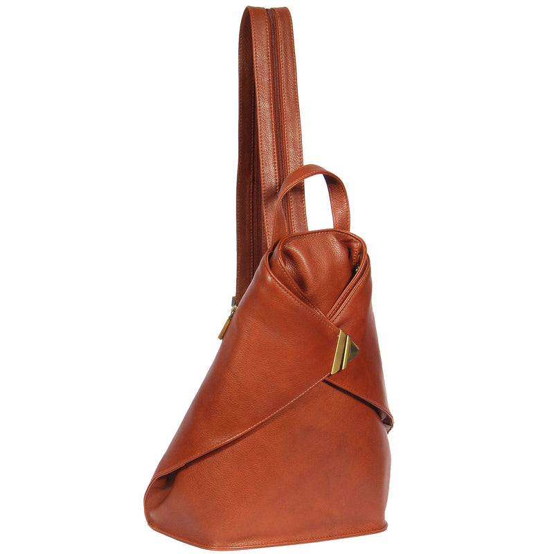 large size leather triangle shaped backpack