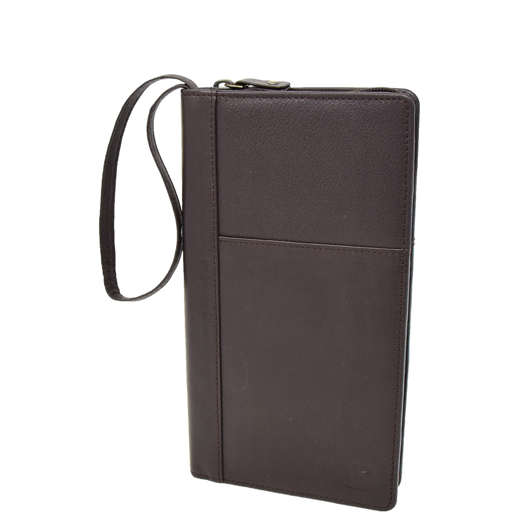 Zip Around Documents Leather Wallet Perth Brown