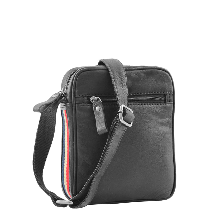 Mens Leather Cross Body Small Flight Bag Parkham Black 3