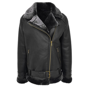 Womens Sheepskin Aviator Cross Zip Pilot Jacket Lena Black