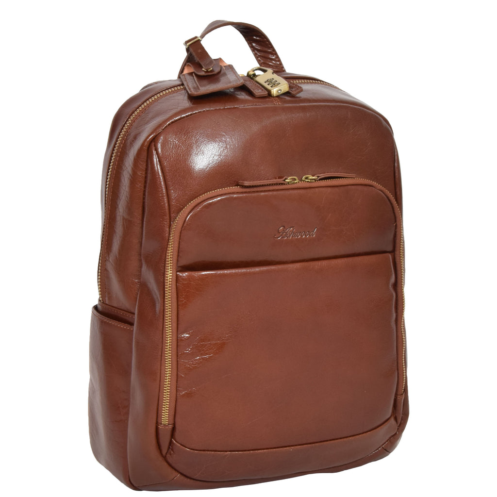 1d866394bea1 Exclusive Leather Organiser Rucksack Peru Chestnut Tan