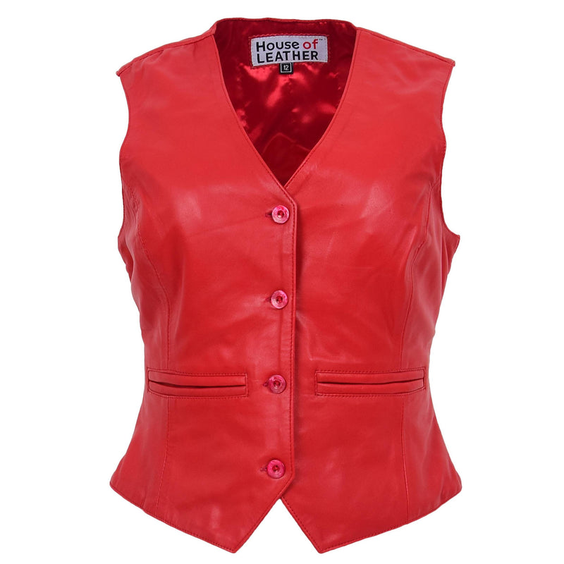 Womens Leather Classic Buttoned Waistcoat Rita Red